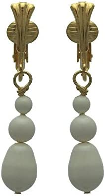 PORTIA Gold Plated Ivory Glass Bead Clip On Earrings