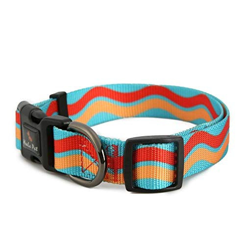 Qingsb verstelbare regenboog nylon riem halsband voor kleine en grote honden halsbanden Kleine halsband Medium huisdier accessoires, C, S