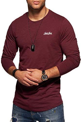 JACK & JONES Herren Langarmshirt Oversize Longshirt O-Neck (Medium, Port Royale)