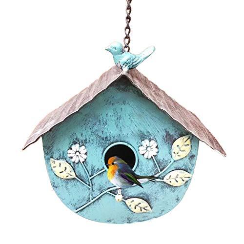 TentHome Vogelhaus Zum Aufhängen Vogelhäuschen Wildvögel Nistkasten Vogel Metall Garten Deko Wildvogelhaus Hängend (Blau)
