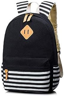 Unisex School Rucksack Stripe Travel Backpack 15.6 Inch Laptop (Black)