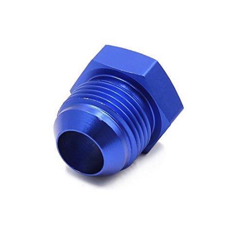 sourcing map Racor Aluminio Azul Conector AN12 Adaptador Final Manguera de Aceite Combustible de Coche