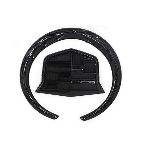 Cardiytools 1PC Rear Black Wreath Crest Tailgate 3D 4 Inch Emblem Sticker for Cadillac