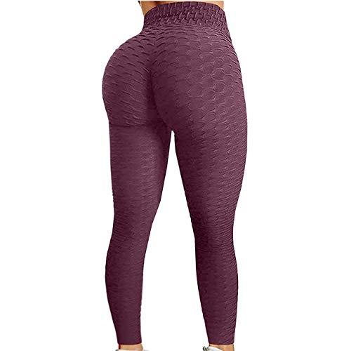 WSC Ballas De Cintura De Alta Cintura Anti-Celulitis Formación Leggings Pantalones De Yoga para Mujer Pantalones De Abdomen Leggings Textura Estiramiento Botas Cortas Leggings(Size:S,Color:L)