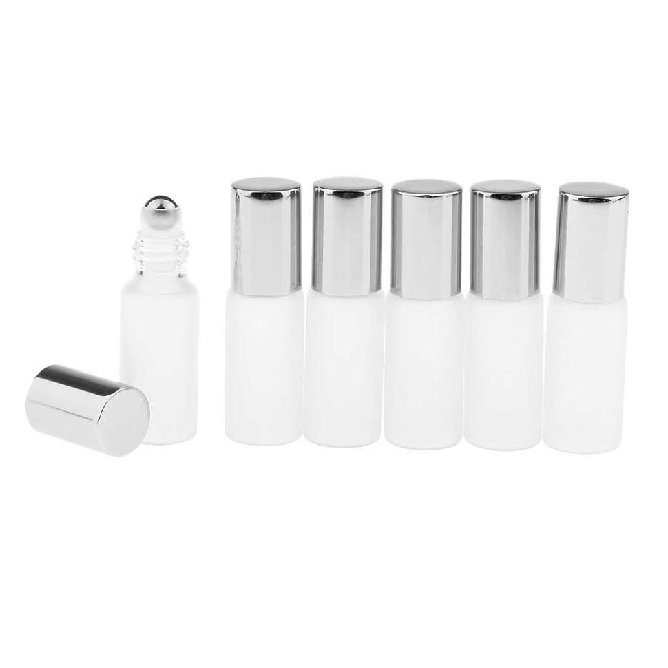 日多くの危険がある状況壁Perfeclan 3色選ぶ ロールオンアロマボトル 小分けボトル 詰替え容器 漏れ防止 ガラス製空のボトル 6本セット - シルバー
