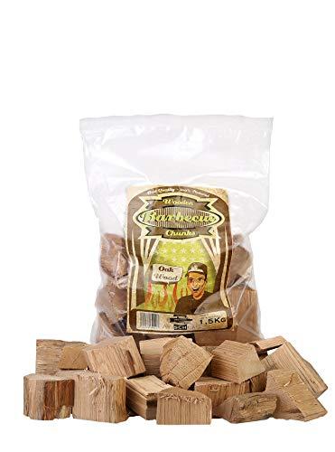 Axtschlag Räucherklötze Eiche, 1500 g XXL Packung sortenreine faustgroße Wood Chunks zum Smoken und Räuchern über längere Zeit, für alle Grills geeignet