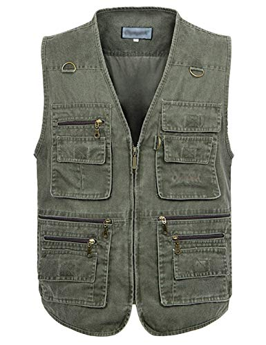 Gihuo Men's Casual Outdoor Leisure Lightweight Pockets Fishing Photo Journalist Hunting Vest Plus Size (S, Army green)