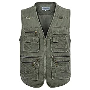 Men's Casual Outdoor Pockets Fishing Photo Travel Safari Denim Vest