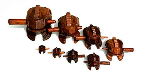 Quakender Frosch Guiro aus Holz–Fair Trade, Schlag-Instrument–klein, mittel, groß, Jumbo–Frosch Guiro 7.5