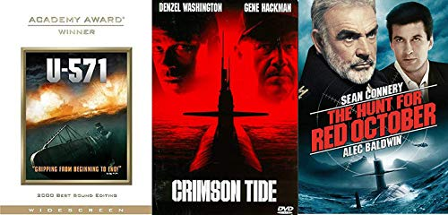 Russia Hunt Cold War Sub Films U-571 / Red October Sean Connery / Crimson Tide War Military 3 Feature DVD Films