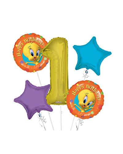 Tweety Bird Happy Birthday Balloon Bouquet 1st Birthday 5 pcs - Party Supplies