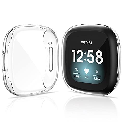 KIMILAR 2 Stücke Schutzhülle Kompatibel mit Fitbit Sense/Versa 3 Hülle, (Nicht für Versa/Versa 2) Vollständige Abdeckung Weiche TPU Cover Hülle Schutzfolie für Versa 3/Sense Smartwatch