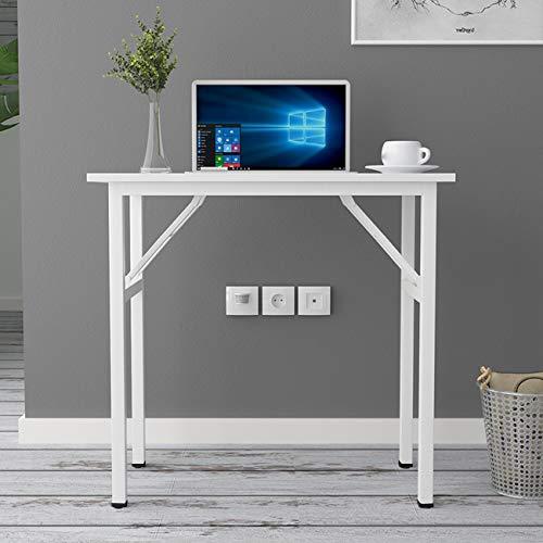 DlandHome Mesa Plegable Mesa de Ordenador Escritorio de Oficina 80x40cm Mesa de Estudio Puesto de Trabajo Mesas de Recepción Mesa de Formación,Teca/Blanco ⭐