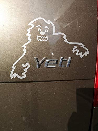 MS Car Sticker Yeti Monster Lachend Aufkleber klein passend zb. für Skoda usw. (03 Weiss Glanz)