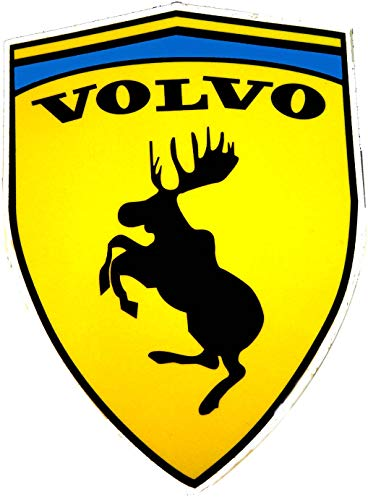 Folien1x1 2 STK. Volvo Ferrari Elch Sticker Fun Aufkleber (ca 10,6 cm x 7,7 cm).