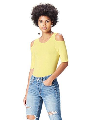 find. T-Shirt Damen gerippt, mit Off-Shoulder-Design, Gelb (Lemonade), 42 (Herstellergröße: X-Large)