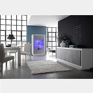 M 012 Salle à Manger Design Blanc Laqué Mat Et Couleur Béton Erine 7