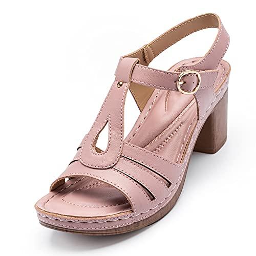 RHJK Sandalias De Tacón De Bloque para Mujer,Sandalias De Tacón De Bloque Medio Bajo,Correa En El Tobillo Sandalias De Vestir Sandalias Alto En Bloque Zapatos De Fiesta C Pink-39 EU