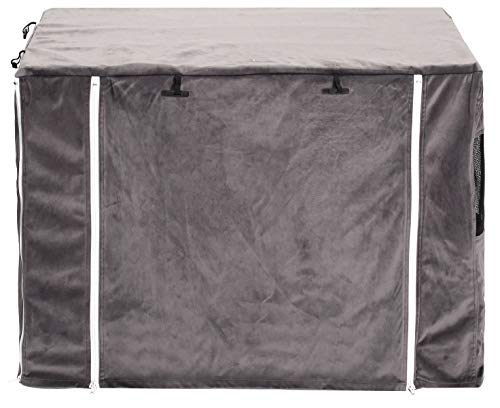 Brabtod 2 in 1 Dog Crate Cover for Wire Crates Cages Kennel, Doubles as a Comfy Blanket, Polar Fleece Pet Kennel Cover Indoor Protection - Cover only - Black - XL Categories