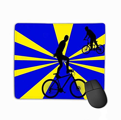 Rutschfeste dicke Gummi große Mousepad Fahrrad Stunts Hintergrund Silhouette Menschen Reiten Fahrrad tun Vintage