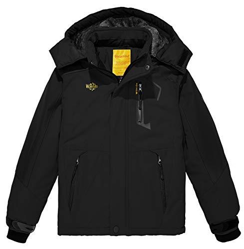 Wantdo Giacca da Sci Impermeabile Giaccone Sport Invernale Jacket for Work with Hooded Warm Abbigliamento da Sci Taglia Forti Bambino Nero 116-122