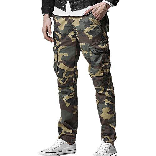 N\P Overalls - Pantalones de hombre para hombre, pantalones de cuerda de otoño con múltiples bolsas sueltas, grandes pantalones de camuflaje para hombres