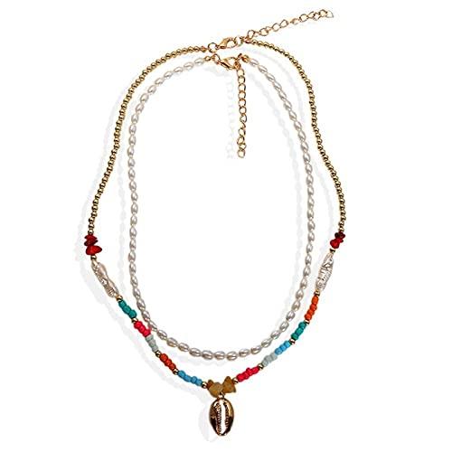 Collares de chokers de cáscara para Mujer Playa Seashell Declaración Collares Vintage Maxi Jewelry (Metal Color : 1)