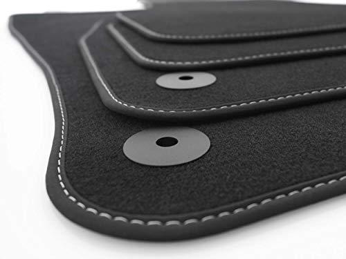 KH piezas felpudos Leon 3Original Premium Calidad Auto Alfombras 4Piezas terciopelo negro, costuras blancas