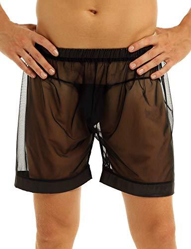 CHICTRY Herren Boxershorts Transparente Mesh Hose Pants Lange Bein Boxer Shorts Unterwäsche Männer Trunks Nachtwäsche Clubwear Schwarz Medium