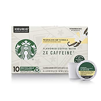 Starbucks Flavored K-Cup Coffee Pods with 2X Caffeine — Madagascar Vanilla for Keurig Brewers — 10 Count  Pack of 6