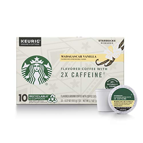 Starbucks Flavored K-Cup Coffee Pods with 2X Caffeine — Madagascar Vanilla for Keurig Brewers — 6 boxes (60 pods total)