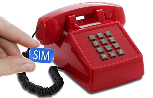 Opis PushMeFon Mobile - Retro Tischhandy in Form eines achziger Jahre Tastentelefons mit echter Metallklingel (rot)