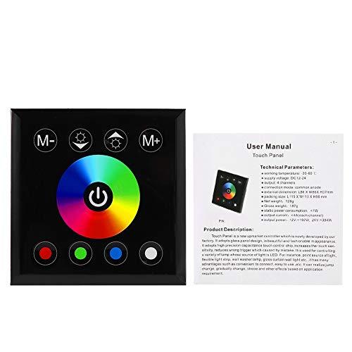 Wincal Controlador de Panel táctil, Interruptor de atenuación del Controlador de Panel táctil LED RGBW Colorido montado en la Pared para Tira de luz LED(Negro)
