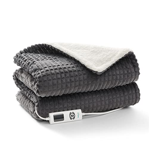 Bedsure Electric Heated Throw Blanket - Single Heat Over Blanket Machine Washable Soft Fleece Sherpa Electric Blanket for Sofa, Dark Grey, 130X160cm