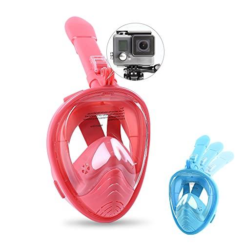 GS CHIER Juego de máscara de buceo con esnórquel y correa de natación para niños (rosa y rojo)