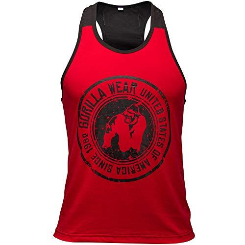 GORILLA WEAR Canotta Stringer - Roswell - Roswell - Camicia Bodybuilder Gym Bodybuilder in Cotone Rosso/Nero XXXL