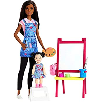 Barbie Art Teacher Playset with Brunette Doll Toddler Doll Toy Art Pieces
