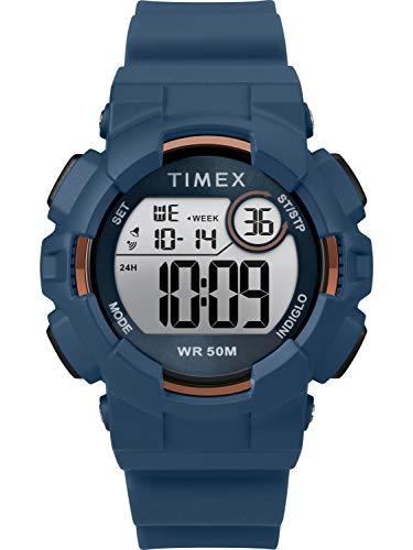 Timex Mako DGTL - Reloj unisex con correa de silicona, Blue/Rose Gold-Tone