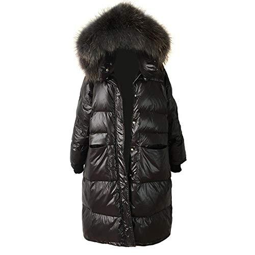 NANA318 Hooded donsjack dikke eend donsjack vrouwen zwart lange warme trenchcoat glanzend winter donsjack