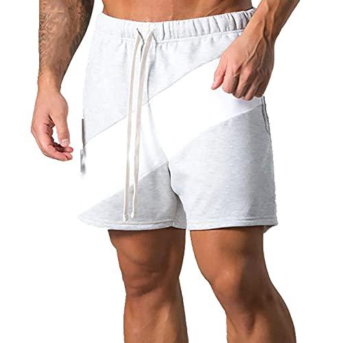 N\P Verano al aire libre casual pantalones cortos de algodón costura media pantalones, Gris, XX-Large