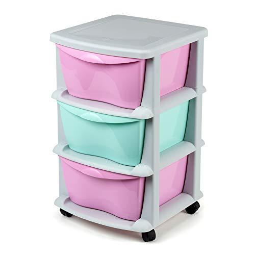 Cajoneras contenedores de plástico con Ruedas para Uso rudo Contenedores para almacenaje con 3 cajones rosa