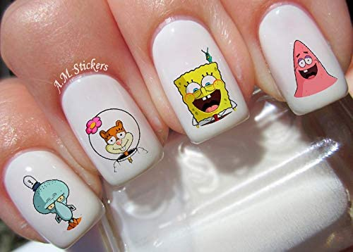 Spongebob Water Nail Art Transfers Stickers 50 Ranking TOP7 of - Decals Sales for sale Set