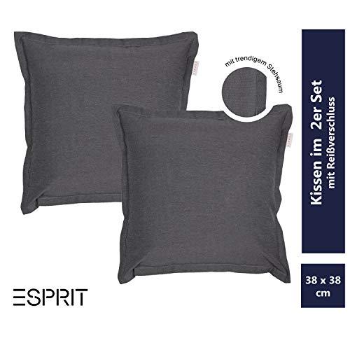 ESPRIT Grand Zierkissenhülle anthrazit 2er Set • Kissenhülle 40x40 ohne Füllung • Zierkissen wurden in Deutschland entworfen & produziert • waschbarer Zierkissenbezug