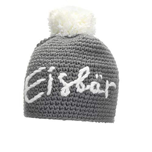 Eisbär Til Pompon MÜ Bonnet en tricot Gris et broche + Pom White