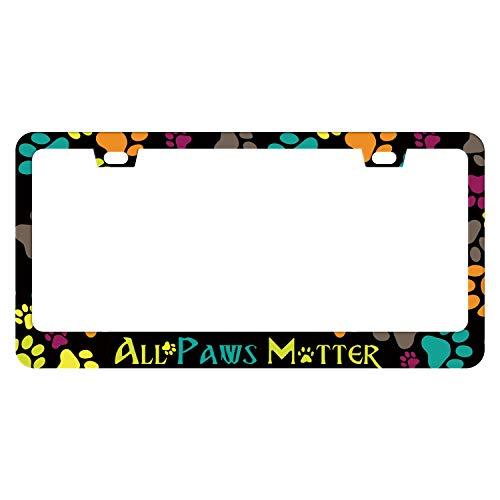 EXMENI All Paws Matter License Plate Frame - Dog Paw Car Frame, Cute License Plate Holder, License Plate Cover Art Pet for Women Men Auto Decoration