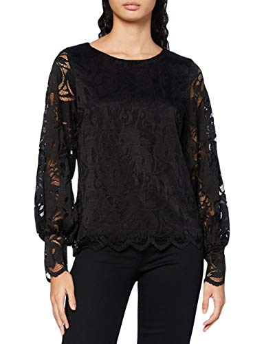 Vila Damen VISTASIA Ballon Sleeve L/S TOP/Camp Langarmsshirt, Black, M