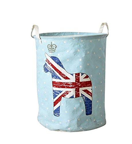 YOUJIA Cesto Plegable de lavandería Cestas para la Colada de los Impresión de Bandera UK Ropa Sucia del Cestos de Almacenamiento con Tapa Azúl