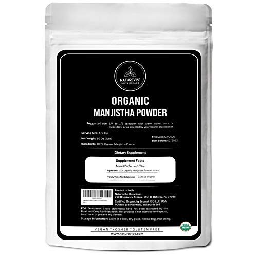 Naturevibe Botanicals Organic Manjistha Powder, 5lbs | USDA Organic Rubia Cordifolia - Promotes Healthy and Clear Skin | Supports Immune System (80 Ounces)