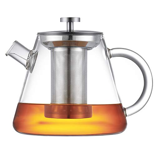 SILBERTHAL Teekanne mit Sieb - Glas - 1,5 Liter - Volles Teearoma durch langen Siebeinsatz