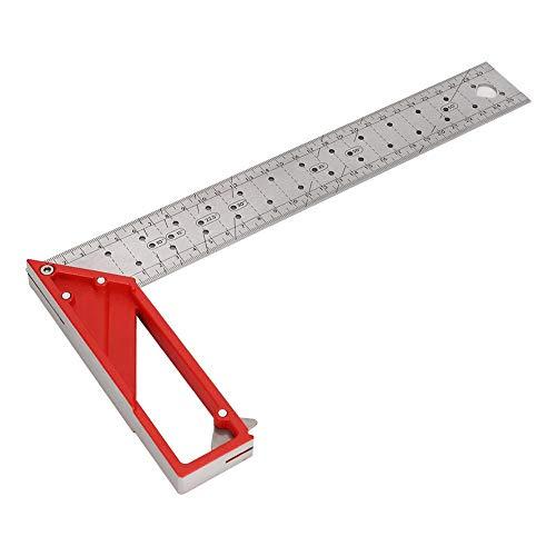 Regla de carpintería, herramienta de cola de milano para juntas de madera Herramienta de carpintería de acero inoxidable Pruebe la regla cuadrada de ángulo recto de 30 cm 45 °/90 ° con orificio de cen